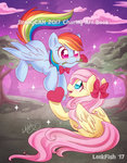 bow flowers flutterdash fluttershy heart highres leekfish rainbow_dash rose_(flower) shipping