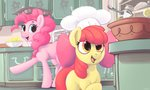 absurdres apple_bloom baking bowl dimfann hat highres kitchen lemon pinkie_pie spoon sugarcube_corner