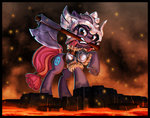 axe background_ponies harwick helmet highres lava weapon