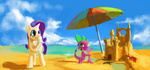 beach crab highres paladin_(artist) rarity sand_castle spike umbrella