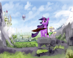 archonix canterlot cloak dinky_hooves dirigible saddlebags twilight_sparkle