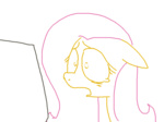 computer fluttershy lineart looking_at_the_place_which_shall_not_be_named reaction_image the_weaver