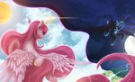 absurdres cloud fluttersheeeee flying highres magic moon nightmare_moon princess_celestia sun tears