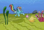absurdres chaosmalefic fish highres rainbow_dash swimming underwater