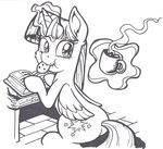 book cookie cup highres latecustomer lineart magic princess_twilight twilight_sparkle