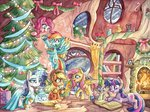 absurdres applejack book christmas_tree dress fireplace fluttershy highres magic main_six pinkie_pie present rainbow_dash rarity spike the-wizard-of-art traditional_art twilight_sparkle