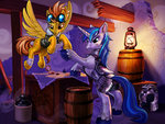armor bandage harwick injured lantern nighttime princess_cadance ruins shining_armor spitfire