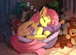 cat earbuds fluttershy highres phone sleeping toys yakovlev-vad