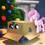 cardboard_box christmas christmas_tree filly giantmosquito present princess_celestia princess_luna