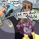car gun highres i_shall_not_use_my_hooves_as_hands pinkie_pie ponygoggles snailsquirm snipsy_snap weapon