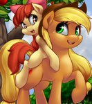 apple_bloom applejack cauldroneer highres pony_ride_the_pony riding