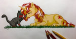 absurdres cat emberslament gaelledragons highres sunset_shimmer traditional_art