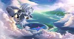absurdres bird cloud devinian draconequus flying highres original_character parrot scenery sea