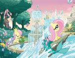 butterfly dress fluttershy fountain frog merponies the_little_mermaid the_princess_and_the_frog tonyfleecs