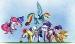 applejack fluttershy football_helmet highres main_six ncmares pinkie_pie rainbow_dash rarity twilight_sparkle