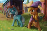 absurdres applejack flowers grass highres manecut starblaze25 the_great_and_powerful_trixie wagon