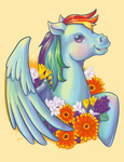 digitalduckie flowers portrait rainbow_dash retro