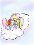 butterscotch25 cloud flutterdash fluttershy rainbow_dash shipping traditional_art