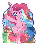 caibaoreturn cake candle cannon hat highres party_cannon party_hat pinkie_pie