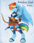 absurdres ambris anthro armor bow highres rainbow_dash scout sword weapon