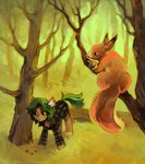 dearmary forest highres original_character squirrel trees