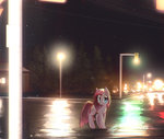 mirroredsea nighttime pinkie_pie rain reflection streetlight trees
