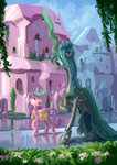 book crystal_empire flowers highres plainoasis princess_flurry_heart queen_chrysalis