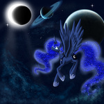 eclipse moon planet princess_luna solarpaintdragon space