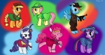 20s applejack flapper fluttershy gangster gun highres main_six not_areally pinkie_pie rainbow_dash rarity submachinegun twilight_sparkle weapon
