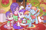 bow_hothoof christmas_tree clothes cookie_crumbles hondo_flanks mootch present rainbow_dash raridash rarity shipping sweetie_belle tree windy_whistles