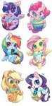 absurdres applejack banana cake candy chi_jiang_john chibi cupcake fluttershy highres main_six pinkie_pie rabbit rainbow_dash rarity twilight_sparkle