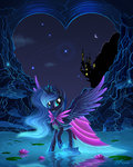 absurdres canterlot dress duskie-06 flowers highres moon nighttime princess_luna stars water