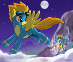 canterlot johnjoseco nighttime rainbow_dash scenery spitfire wonderbolts