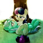 behind-space best_friends cuddling lyra_heartstrings lyrabon shipping sweetie_drops tree