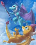 auroriia bloodstone_scepter cloud flying highres princess_ember rocket-lawnchair smolder