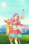 deer equestria_girls fluttershy highres humanized lessanamidairo