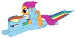 highres nightmaremoons pony_ride_the_pony rainbow_dash riding scootaloo transparent vector