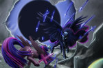 forgotten-wings highres knife magic nightmare_moon princess_twilight spear sword twilight_sparkle weapon