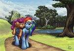 highres pony_ride_the_pony rainbow_dash riding river scootaloo tired tree zevironmoniroth