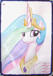 0okami-0ni painting photo portrait princess_celestia traditional_art watercolor