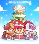 apple_bloom christmas christmas_tree coat cutie_mark_crusaders fluttershy mackinn7 present rainbow_dash scootaloo snow snowing sweetie_belle winter
