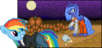 animated blue-cup halloween pixel_art princess_luna pumpkin rainbow_dash transparent