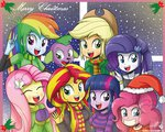 applejack christmas dog equestria_girls fluttershy hat humanized main_six pinkie_pie rainbow_dash rarity santa_hat scarf spike sunset_shimmer the-butch-x twilight_sparkle