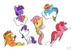 applejack apples book butterfly cloud fluttershy fluttershythekind highres main_six pinkie_pie princess_twilight rainbow_dash rarity twilight_sparkle