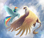 begasuslu birds flying gilda highres rainbow_dash