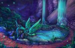 bath highres pond queen_chrysalis viwrastupr waterfall
