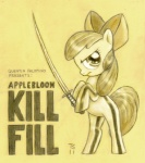 apple_bloom crossover kill_bill lineart poster sword tommysimms weapon
