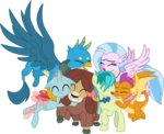 absurdres cloudyglow gallus highres hugs ocellus sandbar silverstream smolder vector yona
