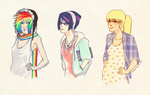 applejack carly_hwang dress hipster humanized rainbow_dash twilight_sparkle