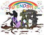 comic crossover dead_space gears_of_war halo isaac_clarke marcus_fenix master_chief mixermike622 the_arbiter transparent twilight_sparkle violence